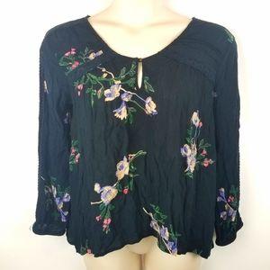 Womens O'Neill Beautiful Black Floral Tunic Top